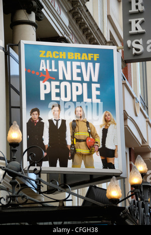 Billboard promoting the West End comedy ' All New People ' outside the Duke of York's Theatre, London, England - Stock Photo