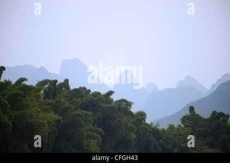 Karst mountains in Yangshuo, rural China - Stock Photo