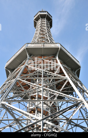 Lookout tower on Petrin Hill in Prague, Czech Republic. - Stock Photo