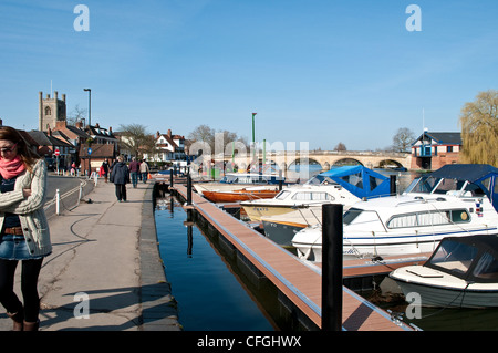 Moored boats on River Thames, Henley-on-Thames, Oxfordshire, England, UK - Stock Photo