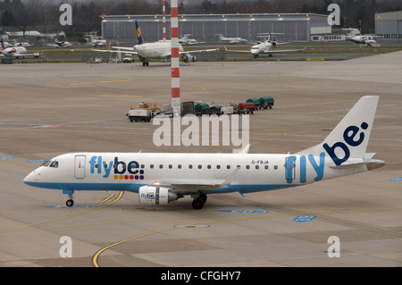 Flybe Embraer ERJ-170 commercial airliner, Dusseldorf Germany - Stock Photo