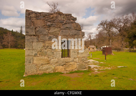 old jail in Marshall Gold Discovery State Park site of first gold discovery in Coloma Gold Rush country California - Stock Photo