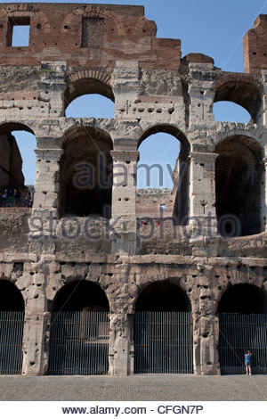 Detail of the Colosseum in Rome, Italy. - Stock Photo
