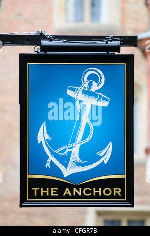 The Anchor Pub Sign, Laundress lane, Cambridge, England, UK - Stock Photo