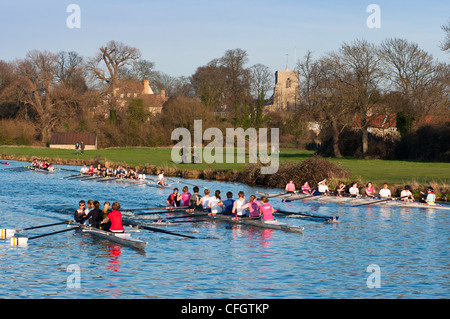 Rowers at on river Cam at Fen Ditton near Cambridge, England. - Stock Photo
