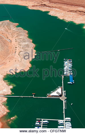 Aerial view of a marina on Lake Powell. - Stock Photo