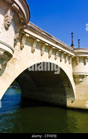 Pont Neuf (the New Bridge) and the Seine River, Paris, France - Stock Photo