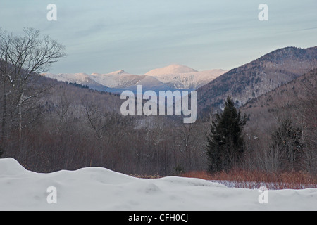 A winter view of the White Mountains from Crawford Notch State Park, New Hampshire - Stock Photo