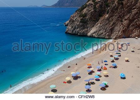A view of Kaputas beach on the Mediterranean coast, near Kas, Turkey. - Stock Photo