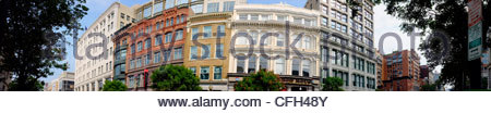 Stitched view of venerable buildings along 7th Street NW. - Stock Photo