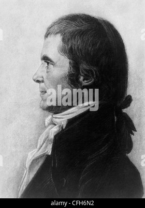 Vintage portrait print of American statesman and judge John Marshall (1755 - 1835) - the fourth US Chief Justice - Stock Photo