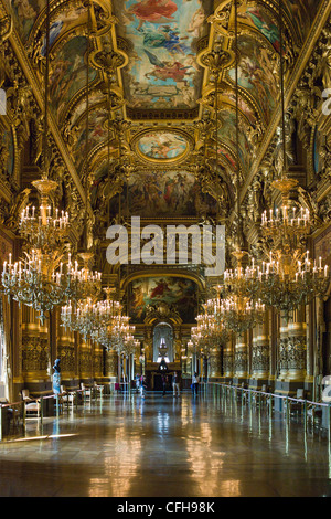 France Paris Grand Foyer with ceiling painting by Paul Baudry with motifs musical history Opéra Palais Garnier opera - Stock Photo