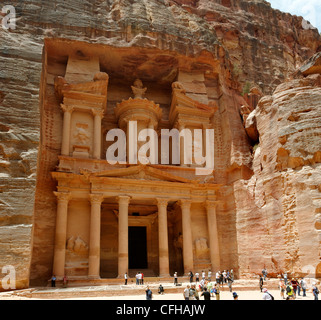 Petra. Jordan. View of the majestic and breathless Hellenistic elegant facade of the world famous Treasury building - Stock Photo