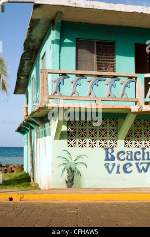 facade colorful old hotel waterfront North End Big Corn Island Nicaragua Central America - Stock Photo