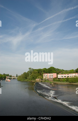 River Dee at Chester with the flats of Salmon Leap and the weir on a nice sunny day - Stock Photo