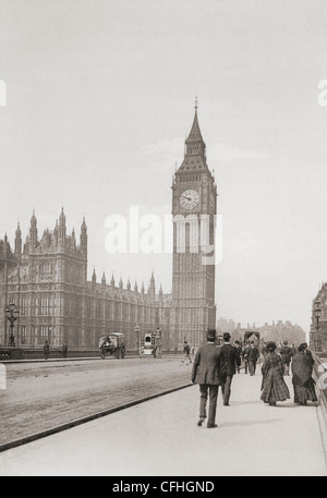 The Palace of Westminster, aka the Houses of Parliament or Westminster Palace, London, England in the late 19th - Stock Photo