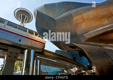 Monorail,Space Needle and the EMP (Experience Music Project) building. Seattle Center. Seattle. Washington. USA - Stock Photo