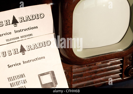 Bush TV22 from 1950, classic, Bakelite TV, on sale as auction lot along with instruction manual and circuit diagrams.Montrose - Stock Photo