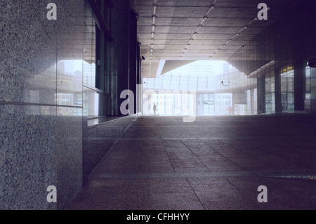 Thoroughfare at the EU parliament building complex, Brussels, Belgium. - Stock Photo