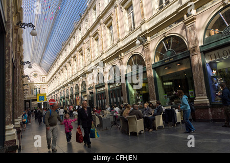 Horizontal wide angle inside the amazing covered arcade of the Galeries Royal St Hubert in central Brussels, Belgium - Stock Photo