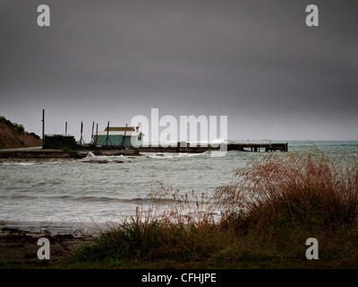old wailing station on a wet and windy day in Kaikoura New Zealand - Stock Photo