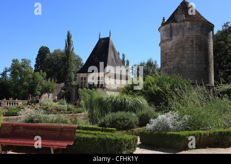 Renaissance pavilion and Saint Roch Tower in French town of Brantome in the Dordogne region of France - Stock Photo