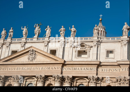 Statues On The Roof Of St Peters Basilica Church Vatican