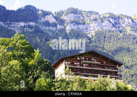 Swiss chalet surrounded by green trees and mountain - Stock Photo