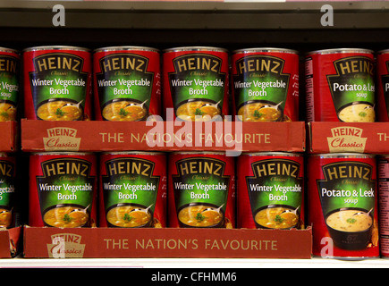 Tins of Heinz soup on a store shelf, UK - Stock Photo
