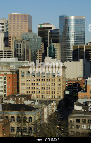 Vancouver  as seen looking west towards the downtown core, with its mixture of old and new buildings. - Stock Photo