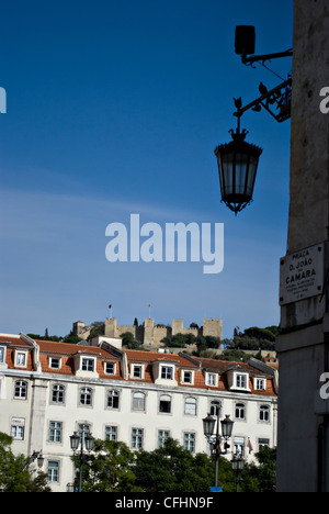 View of Saint George Castle, Castelo Sao Jorge, taken in the Rossio district, central Lisbon, Portugal, Europe - Stock Photo