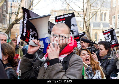 London, UK. 14/03/12.Students protest through London streets against growing cost of higher education. - Stock Photo