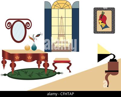 Illustration of an art deco apartment - Stock Photo