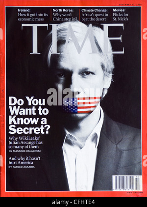 Time magazine cover of Julian Assange - Stock Photo