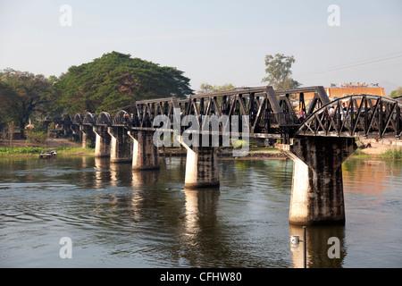 The Bridge on the river Kwai (Kanchanaburi - Thailand). Le Pont de la rivière Kwaï (Kanchanaburi - Thaïlande). - Stock Photo