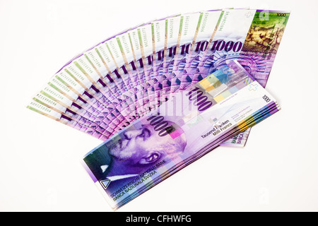 Swiss banknotes, several thousand of Swiss Francs, cash, paper money - Stock Photo