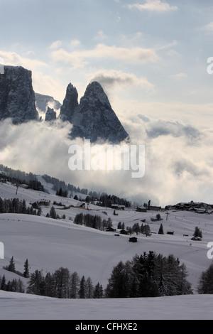 Mount Schlern / Sciliar, Seiser Alm / Alpe di Siusi, South Tyrol, Italy - Stock Photo