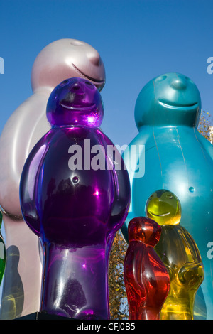 Jelly Baby family public artwork sculpture by artist Mauro Perucchetti in pigmented urethane resin - Stock Photo
