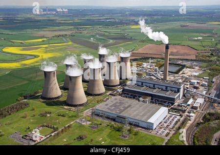 aerial view of Eggborough Power Station, Yorkshire - Stock Photo