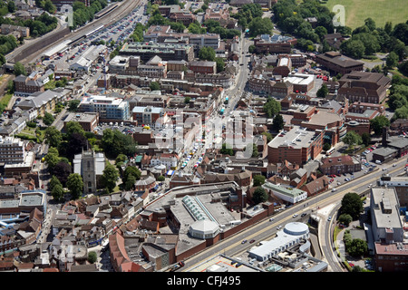 aerial view of High Wycombe town centre from the West looking east across the A40 down the High Street, Buckinghamshire - Stock Photo