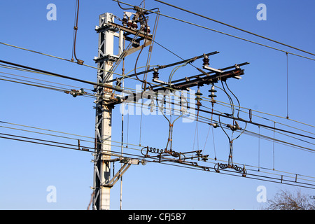 Overhead power-supply for electric trains, France. - Stock Photo