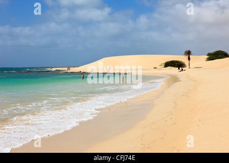 Praia de Chaves Boa Vista Cape Verde Islands. View along the shoreline of quiet white sand beach with turquoise - Stock Photo