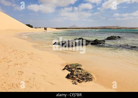 Praia de Chaves, Rabil, Boa Vista, Cape Verde Islands, Africa. View along seashore of quiet white sand beach - Stock Photo