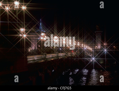 Pont Alexandre III at night. - Stock Photo