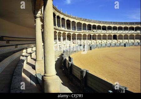 Bullring Ronda Spain Spectators balcony gallery - Stock Photo