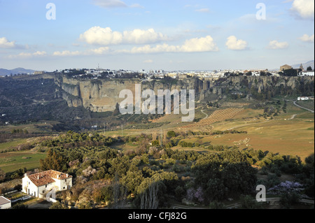 view of the Tajo de Ronda and the Puente Nueva bridge from across the valley - Stock Photo