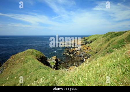 Coastal scenery of the British islands in summer- Niarbyl Bay Isle of Man - Stock Photo