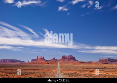 Highway 163 leading to Monument Valley on the Utah/Arizona border, USA - Stock Photo