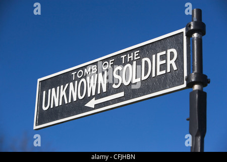 Sign for Tomb of the Unknown Soldier, Arlington National Cemetery, Virginia, USA - Stock Photo