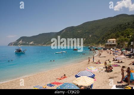 Aghios Nikitas beach, Lefkada, Ionian islands, Greek Islands, Greece, Europe - Stock Photo